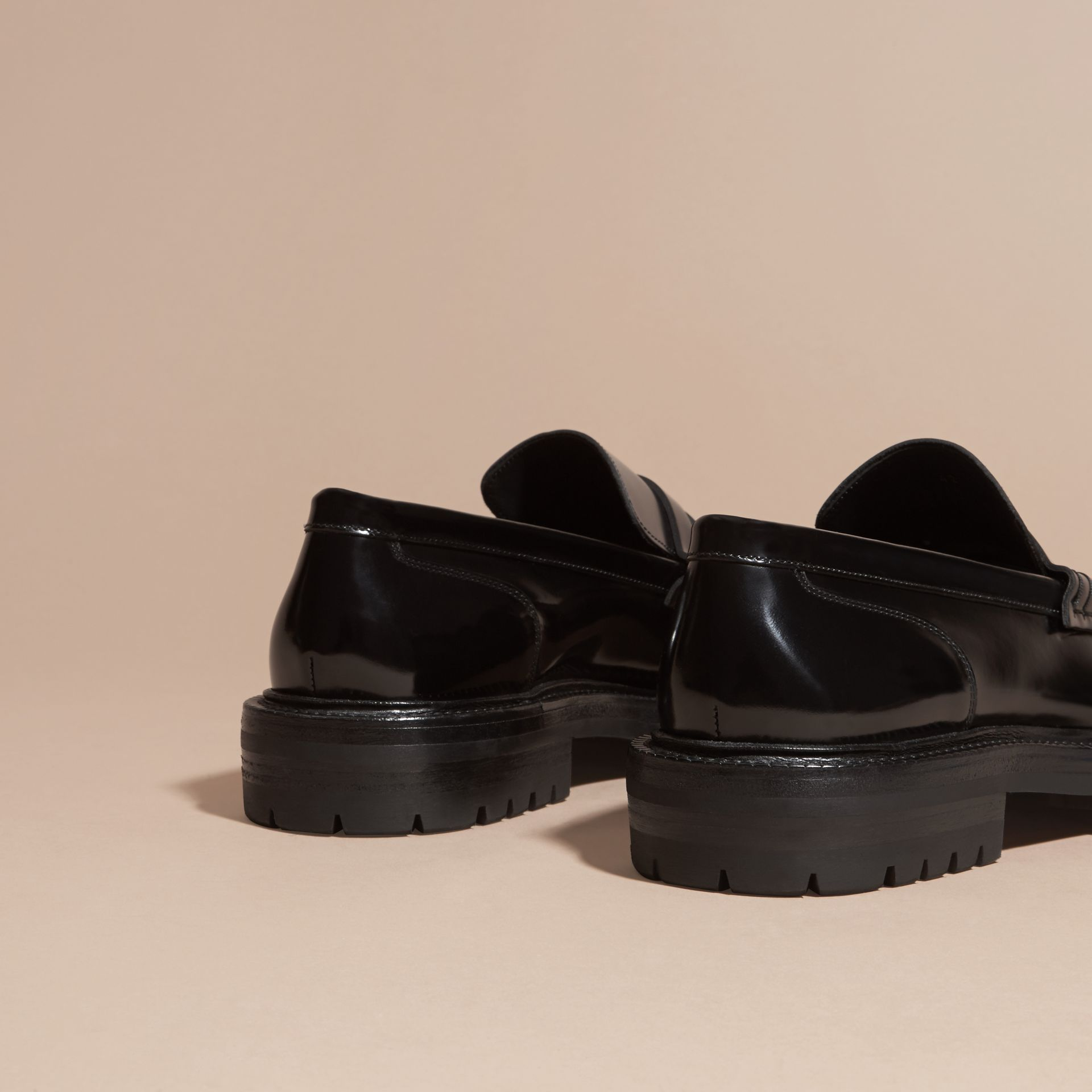 Black Rubber Sole Leather Loafers - gallery image 4