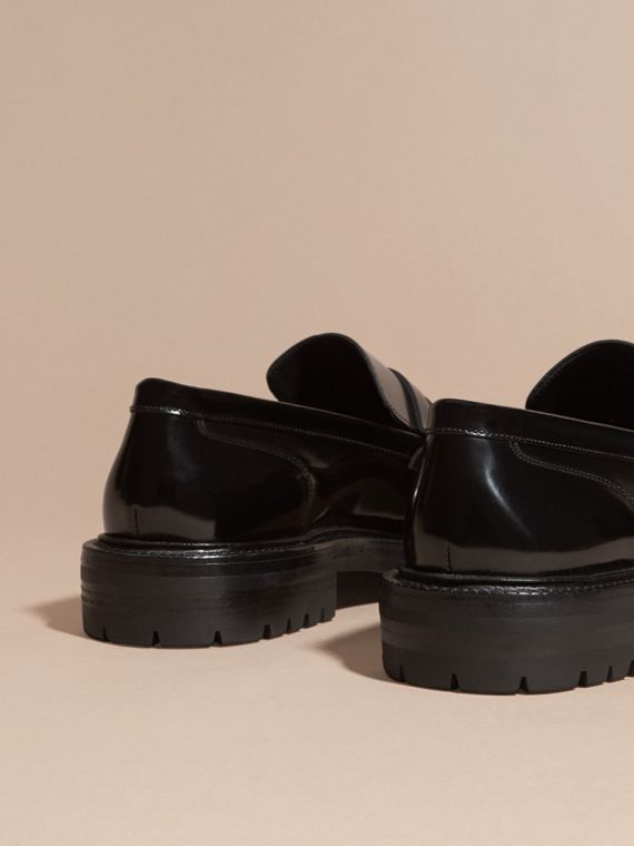 Black Rubber Sole Leather Loafers - cell image 3