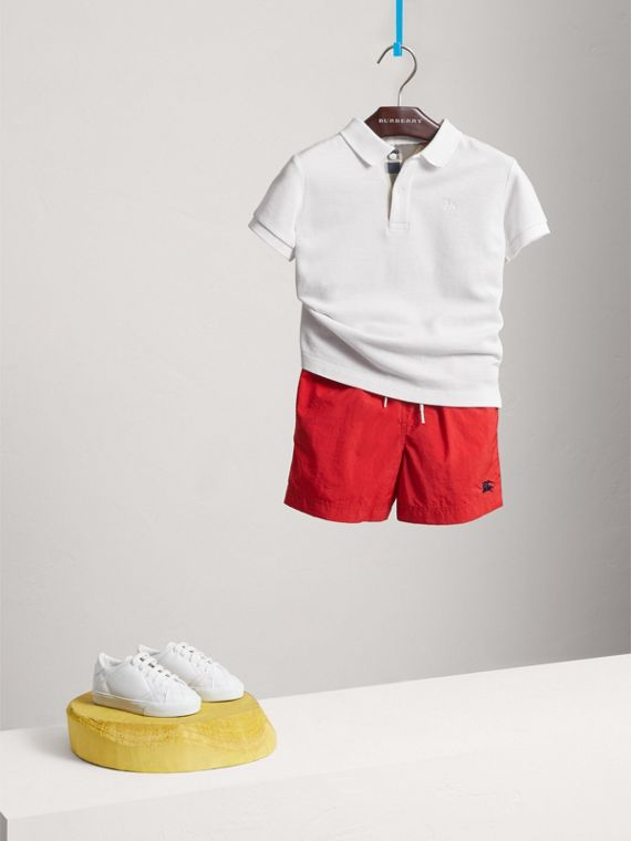 Check Placket Polo Shirt in White - Boy | Burberry United States - cell image 2