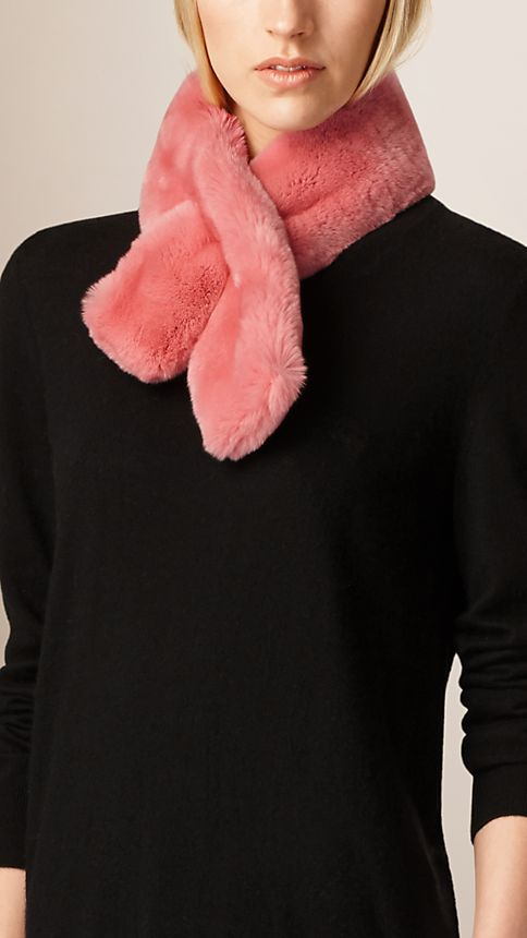 Pink azalea Rabbit Fur Collar - Image 2