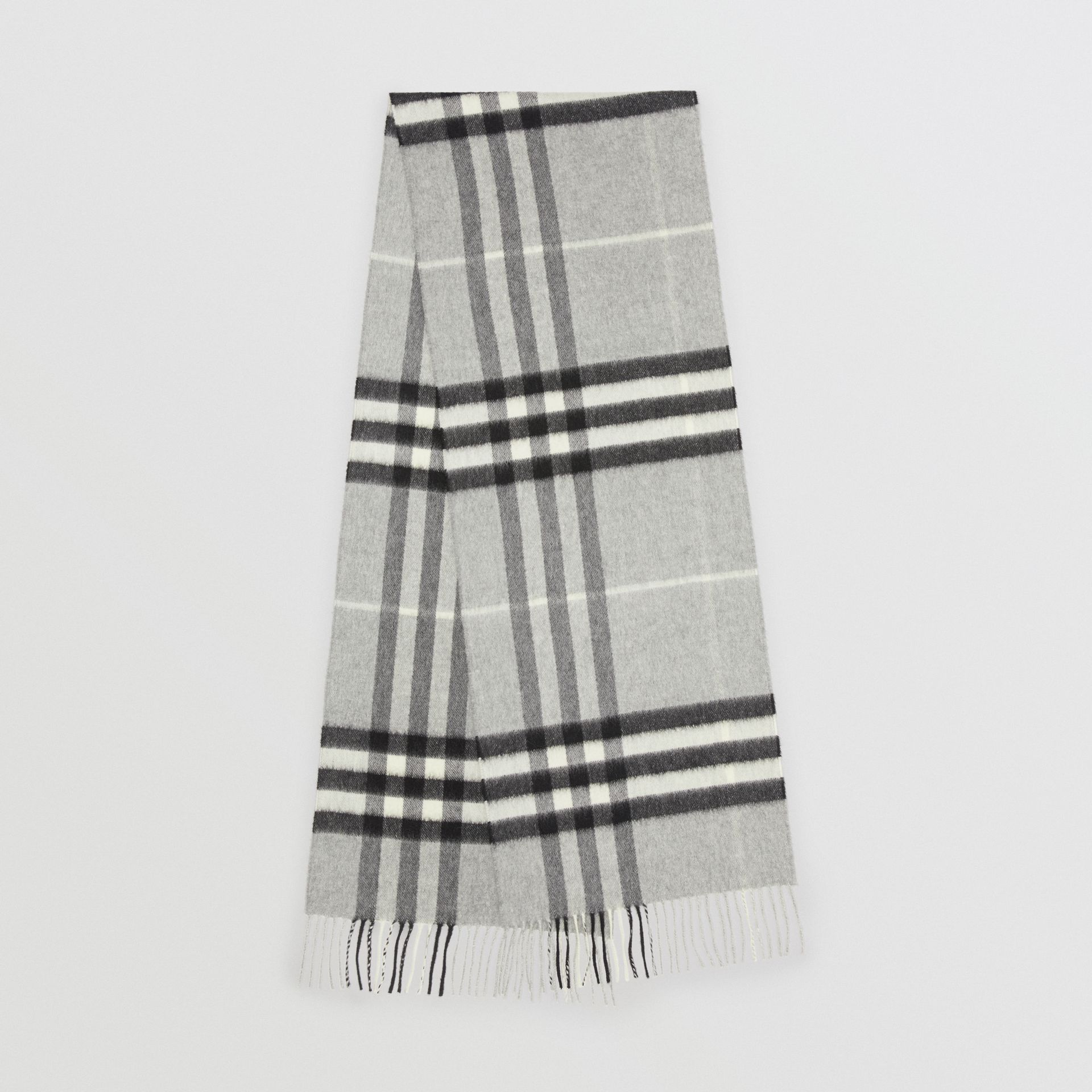 The Classic Check Cashmere Scarf in Pale Grey  fcbab957f4