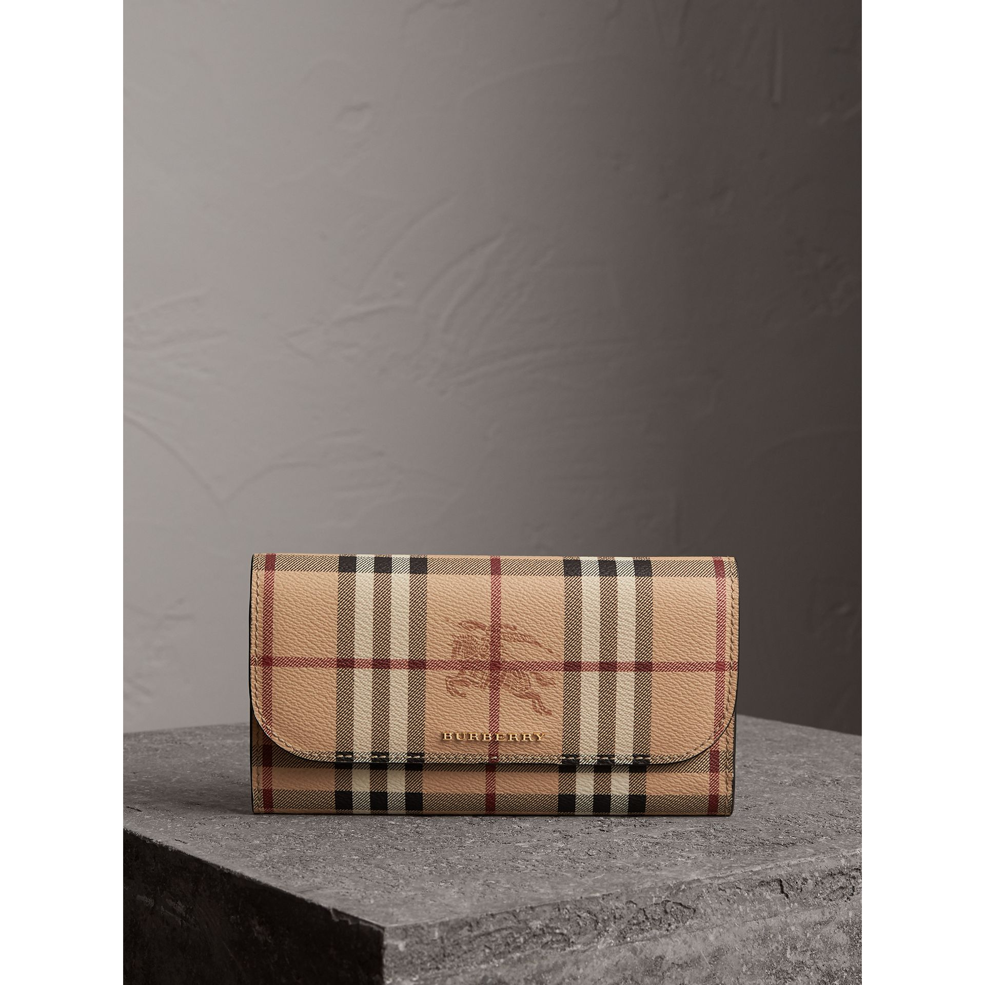 Haymarket Check and Leather Slim Continental Wallet in Black - Women | Burberry Australia - gallery image 4