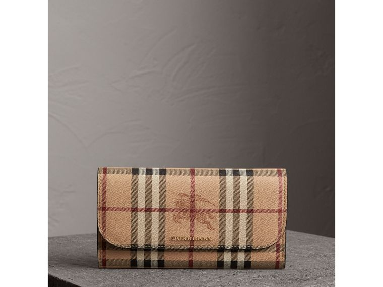 Haymarket Check and Leather Slim Continental Wallet in Black - Women | Burberry - cell image 4