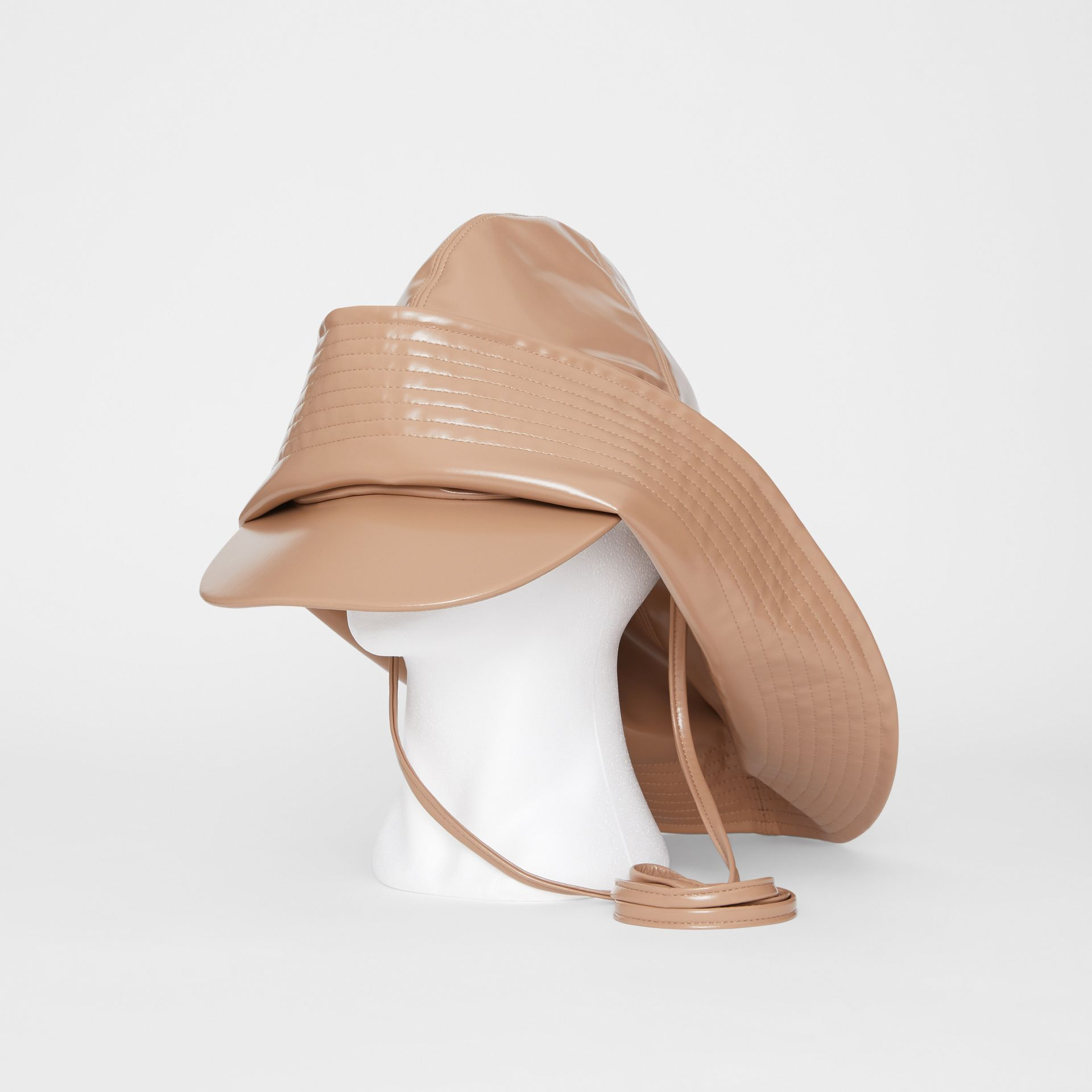 Rubberised Rain Hat in Toffee | Burberry - gallery image 0
