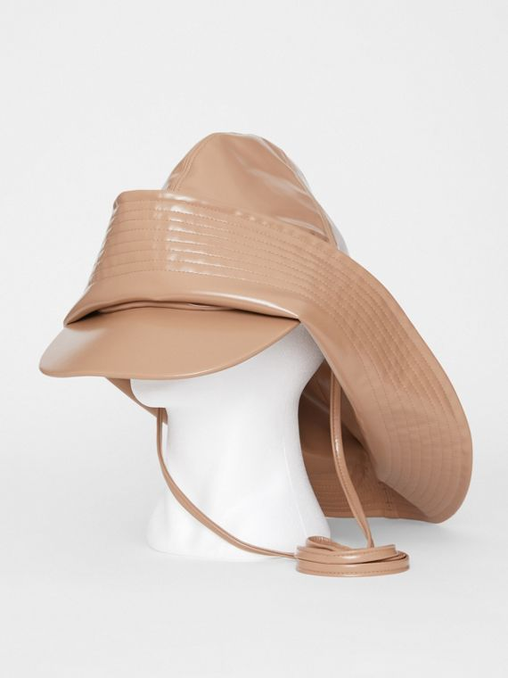 Rubberised Rain Hat in Toffee