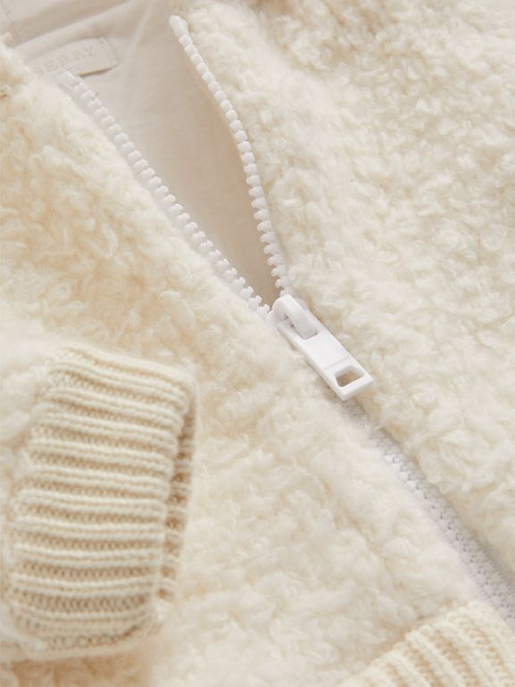 Wool Blend Hooded Top in Ivory - Children | Burberry - cell image 1