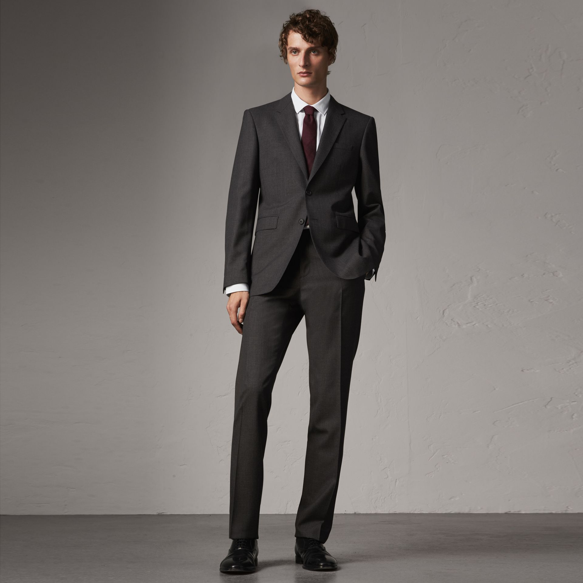 Modern Fit Wool Part-canvas Suit in Charcoal - Men | Burberry - gallery image 0