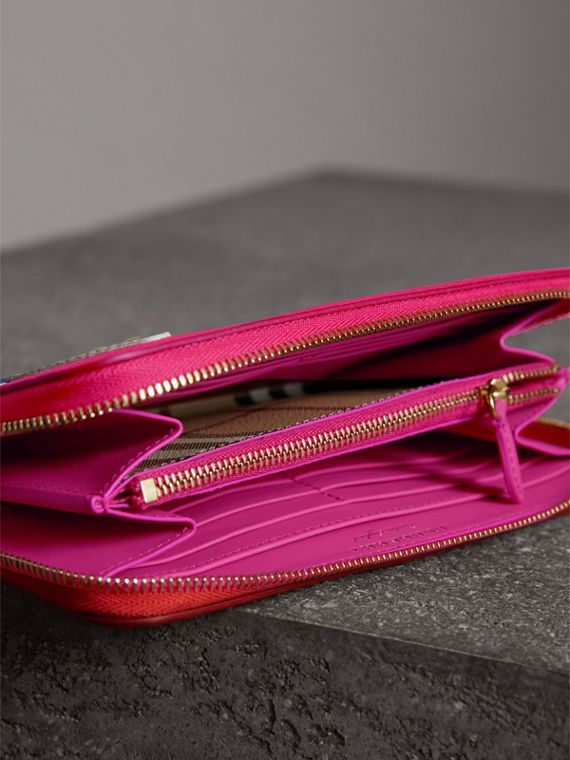 Creature Appliqué Check Leather Ziparound Wallet in Orange Red - Women | Burberry - cell image 3