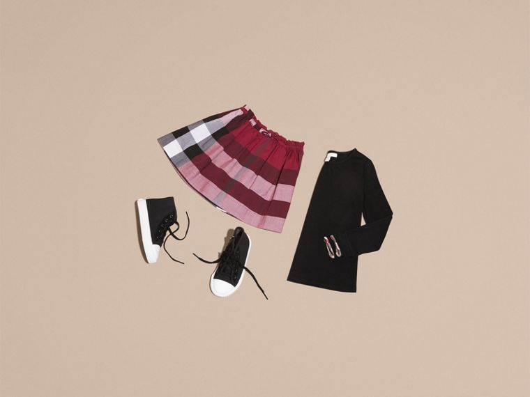 Dark plum pink Check Cotton Skirt - cell image 4