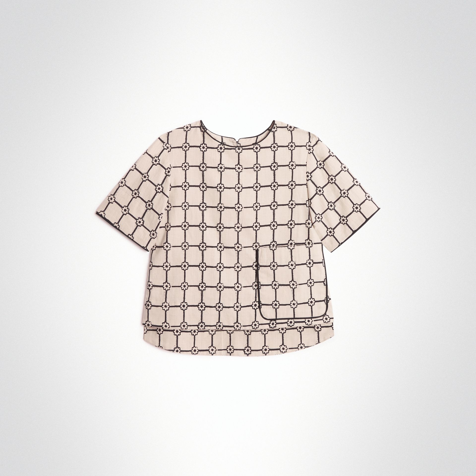Piping Detail Flower Print Cotton Top in Stone | Burberry United States - gallery image 0