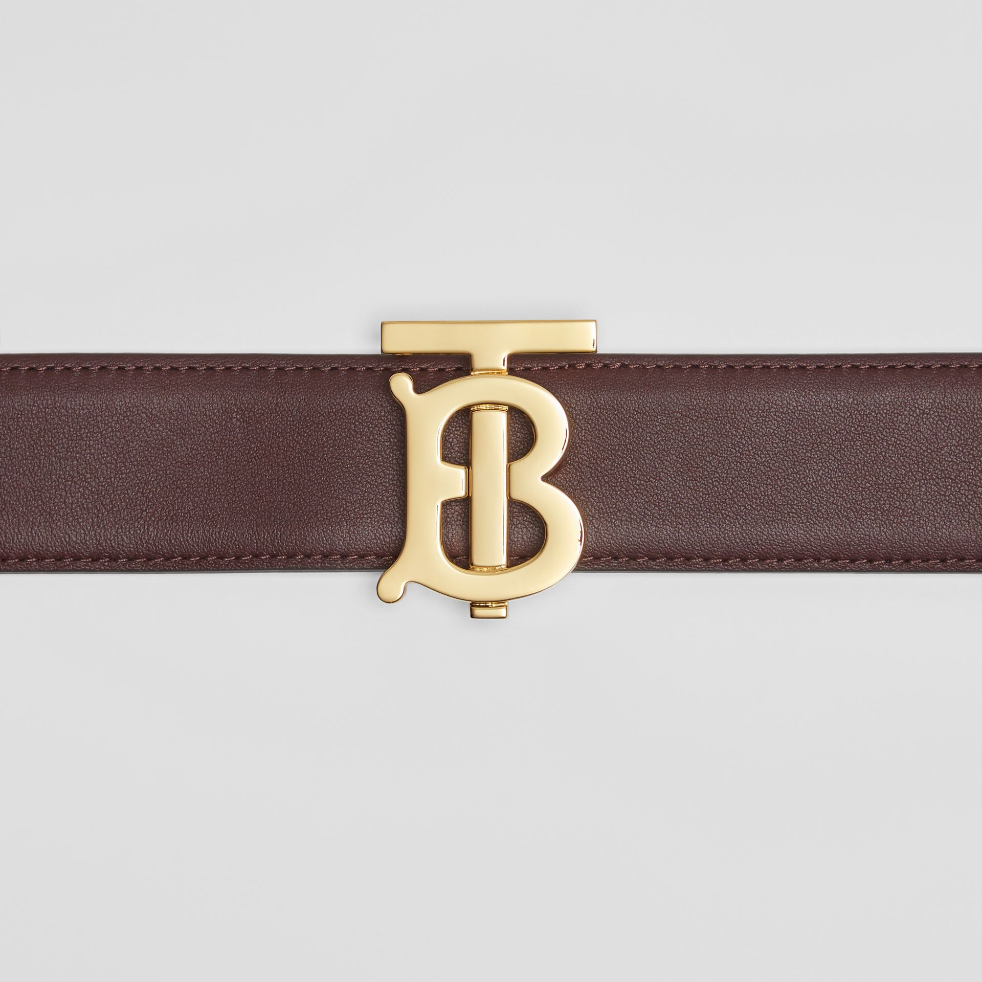 Reversible Monogram Motif Leather Belt in Oxblood/rose Beige - Women | Burberry - gallery image 1