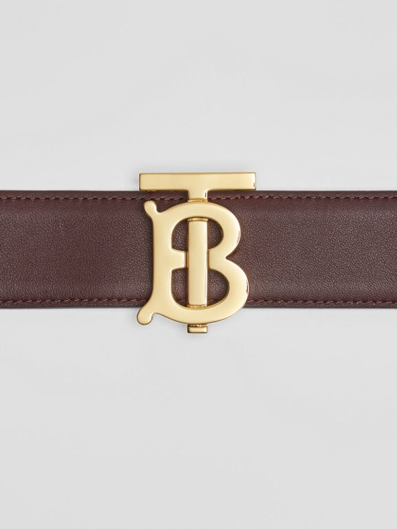 Reversible Monogram Motif Leather Belt in Oxblood/rose Beige - Women | Burberry United Kingdom - cell image 1