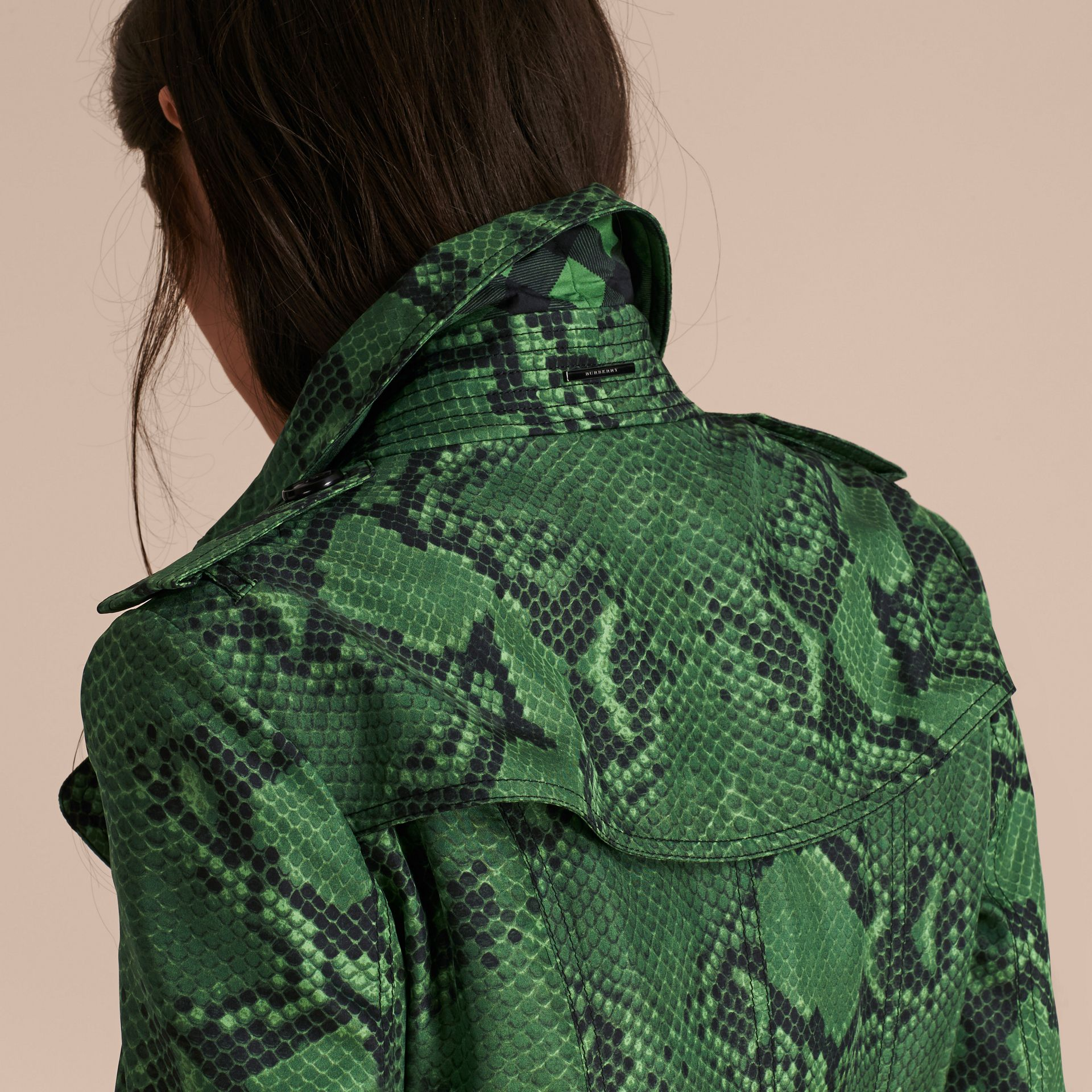 Bright green Python Print Silk Trench Coat Bright Green - gallery image 5