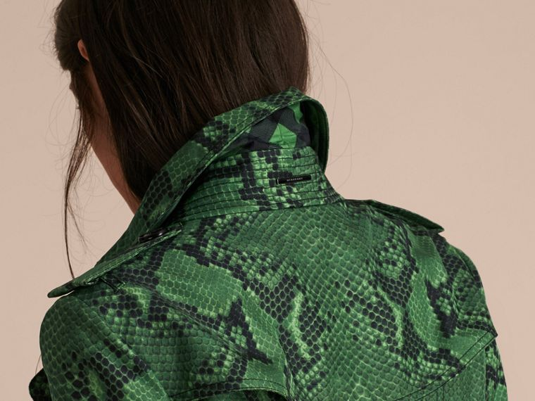 Bright green Python Print Silk Trench Coat Bright Green - cell image 4
