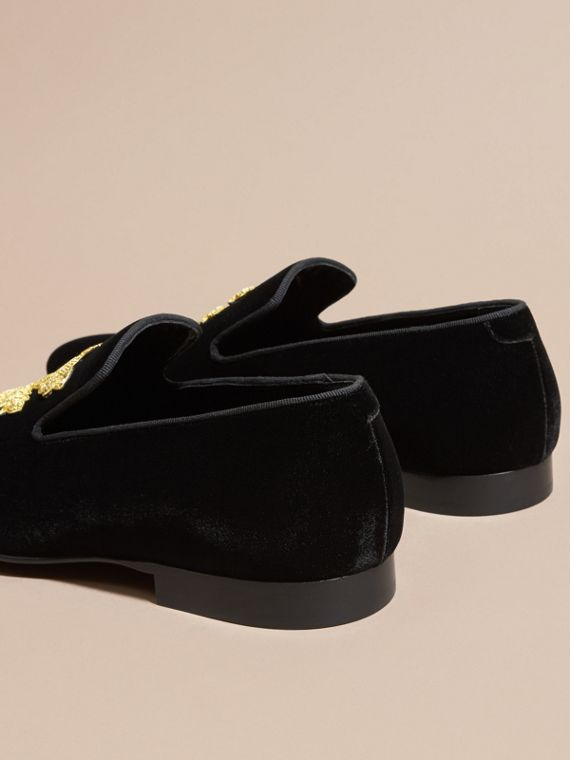 Black Embroidered Velvet Loafers - cell image 3