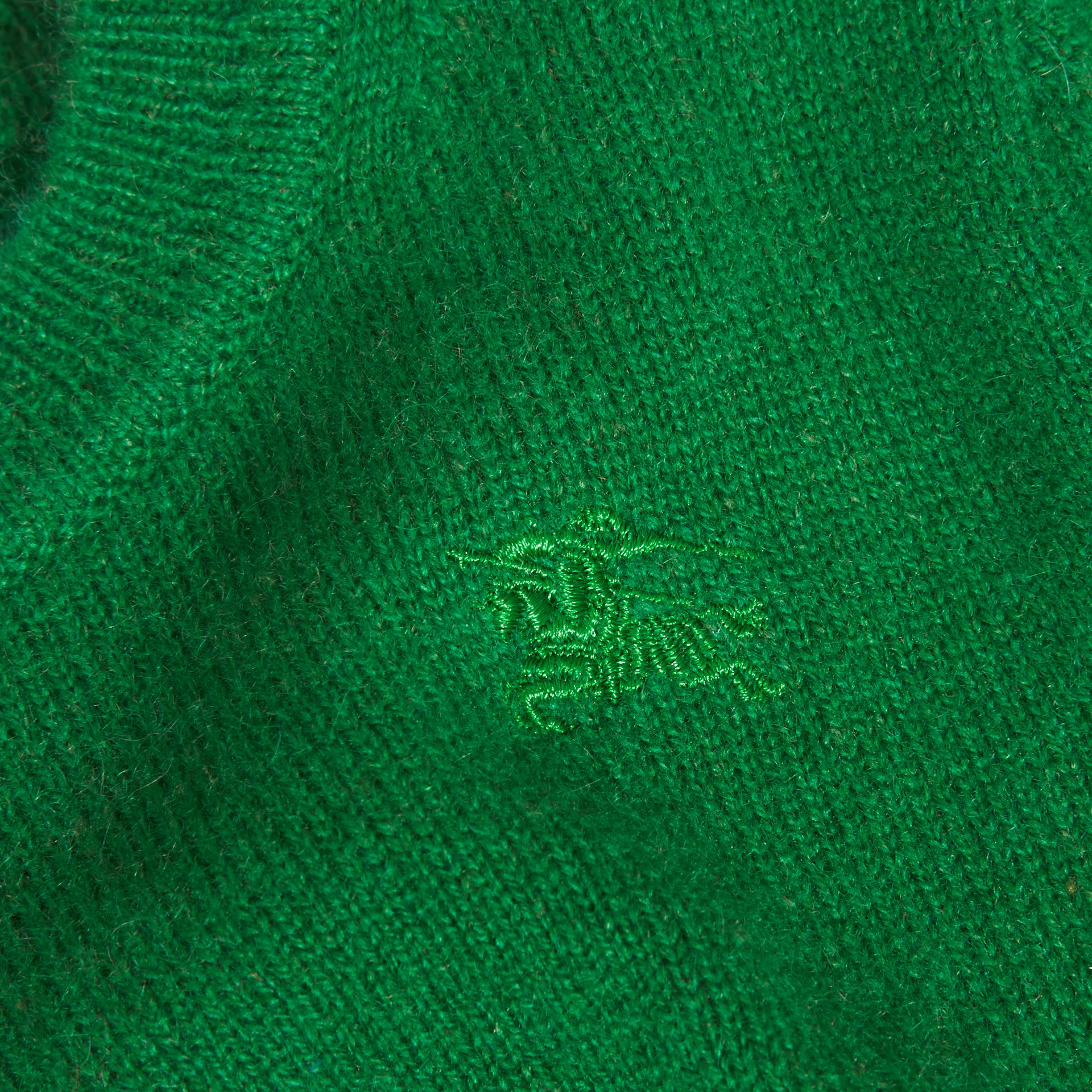 Check Detail Cashmere Sweater in Bright Pigment Green - gallery image 2