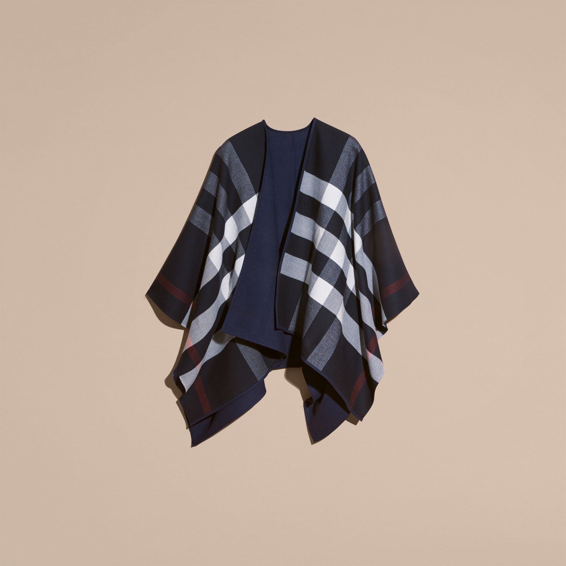 Navy Reversible Check Merino Wool Poncho Navy - gallery image 4