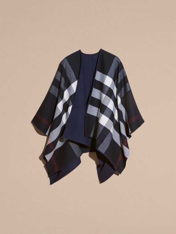 Navy Reversible Check Merino Wool Poncho Navy - cell image 3