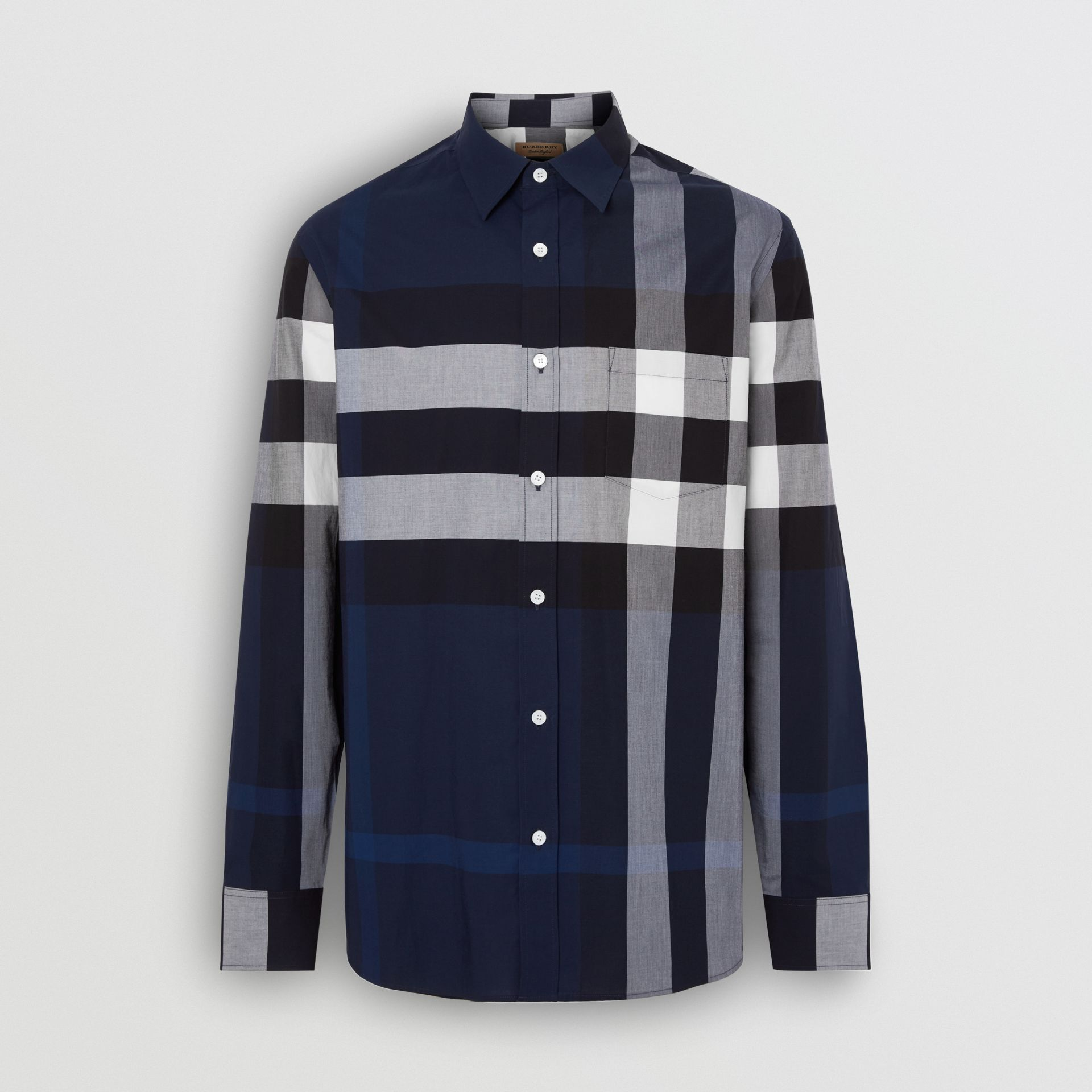 Check Stretch Cotton Shirt in Indigo Blue - Men | Burberry United Kingdom - gallery image 3