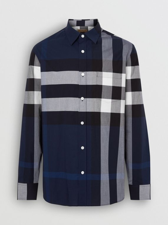 Check Stretch Cotton Shirt in Indigo Blue