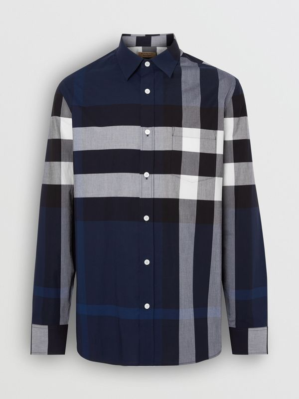 Check Stretch Cotton Shirt in Indigo Blue - Men | Burberry Hong Kong - cell image 3