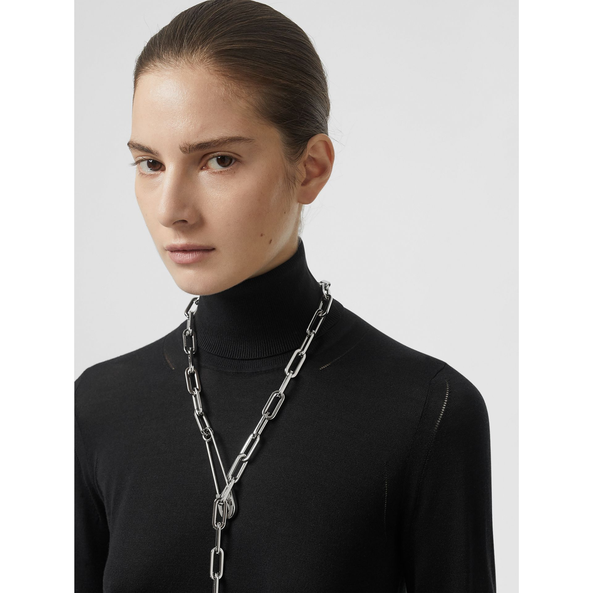 Kilt Pin Palladium-plated Long Link Drop Necklace in Palladio - Women | Burberry - gallery image 2