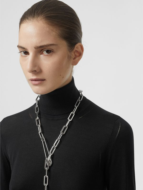 Kilt Pin Palladium-plated Long Link Drop Necklace in Palladio - Women | Burberry United Kingdom - cell image 2