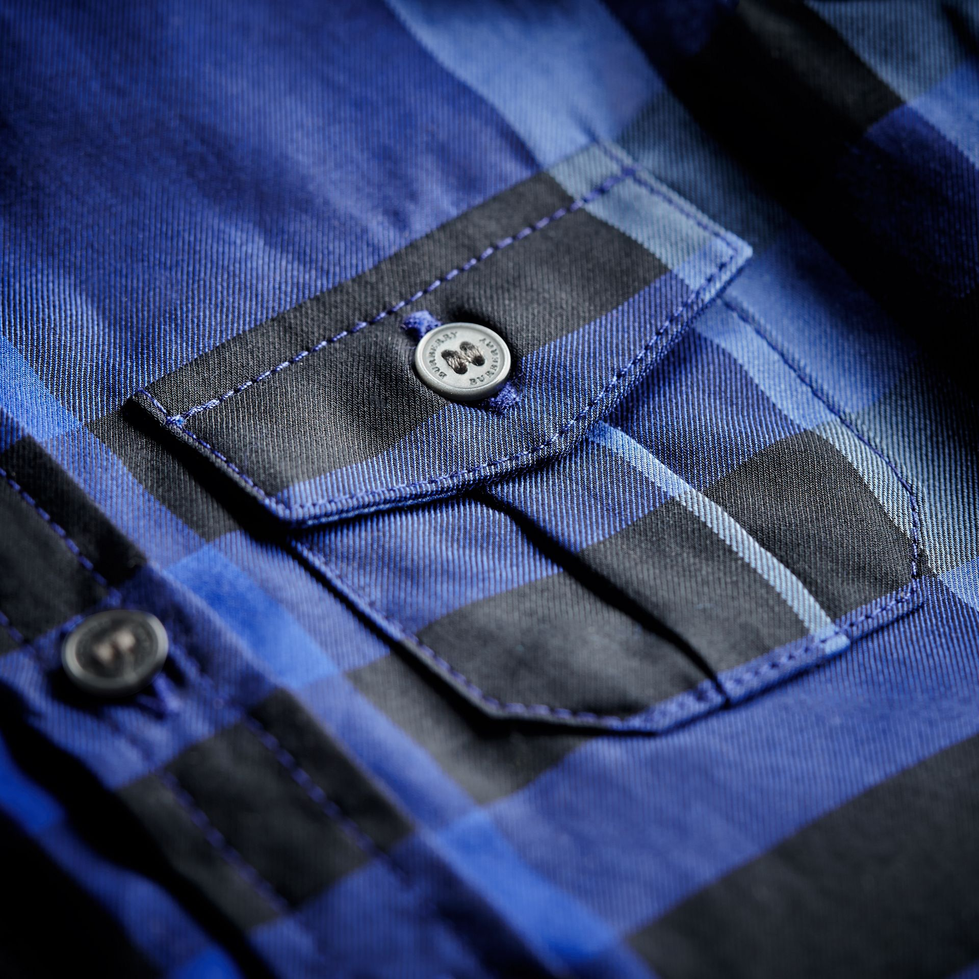 Check Cotton Shirt in Brilliant Blue | Burberry - gallery image 2