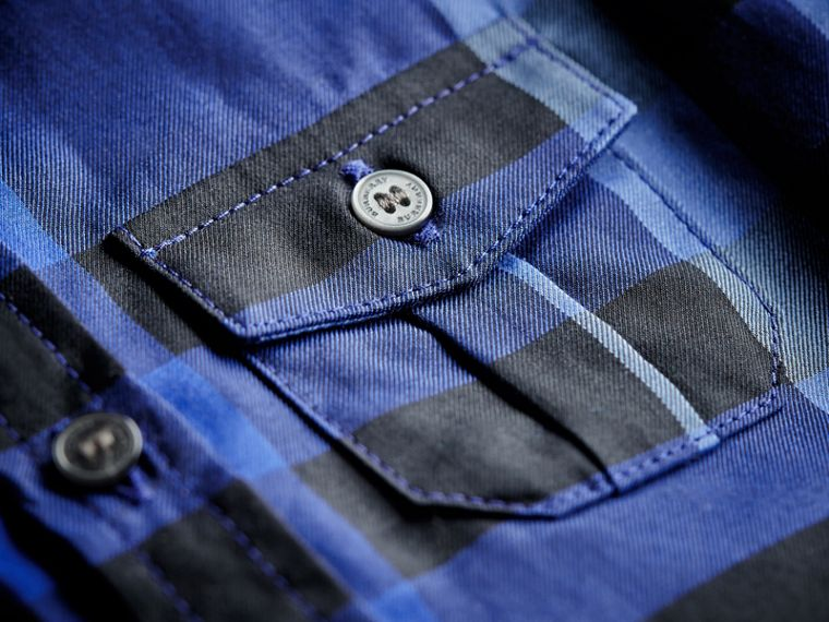 Check Cotton Shirt in Brilliant Blue | Burberry - cell image 1