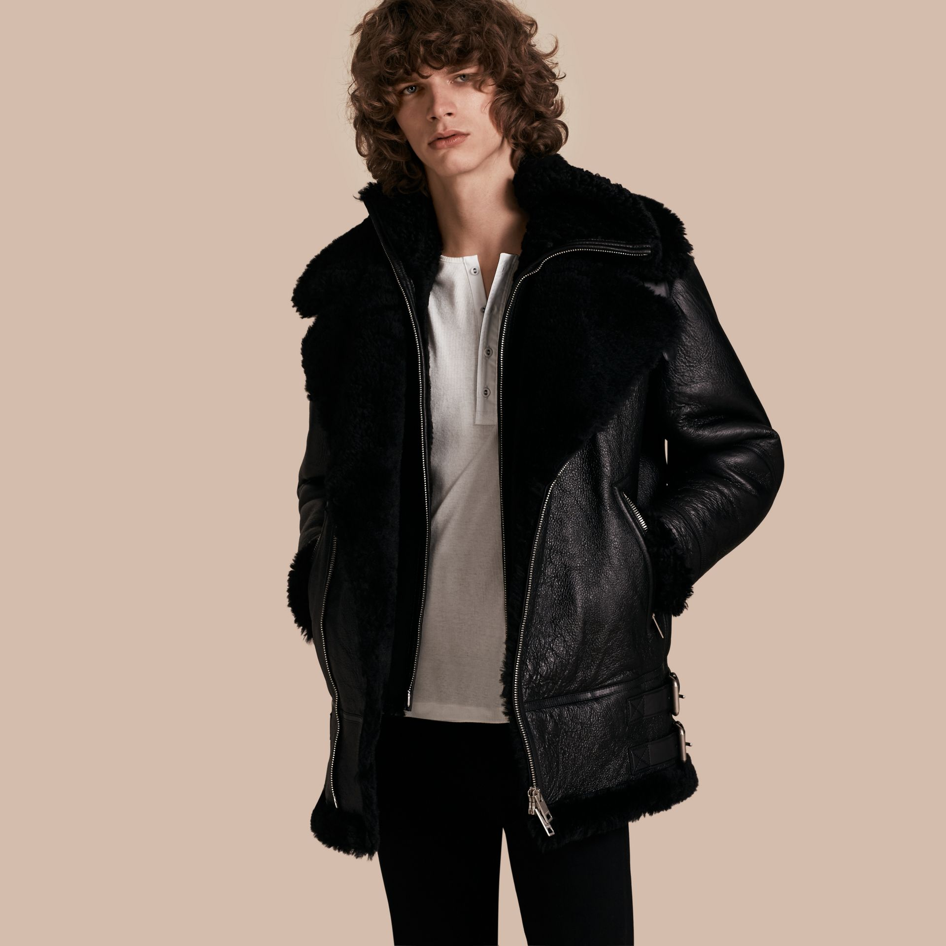 Black Long-line Shearling Aviator Jacket with Zip-out Bib - gallery image 1