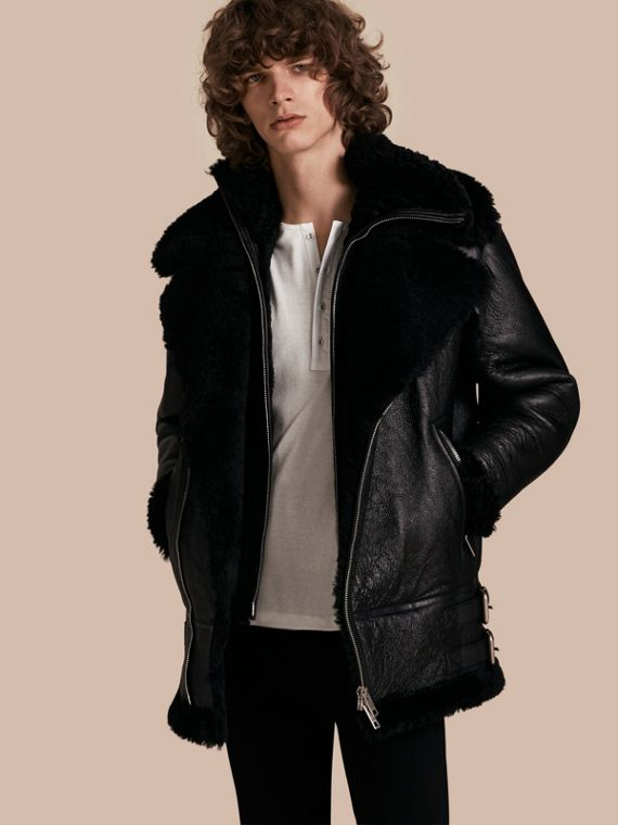 Long-line Shearling Aviator Jacket with Zip-out Bib