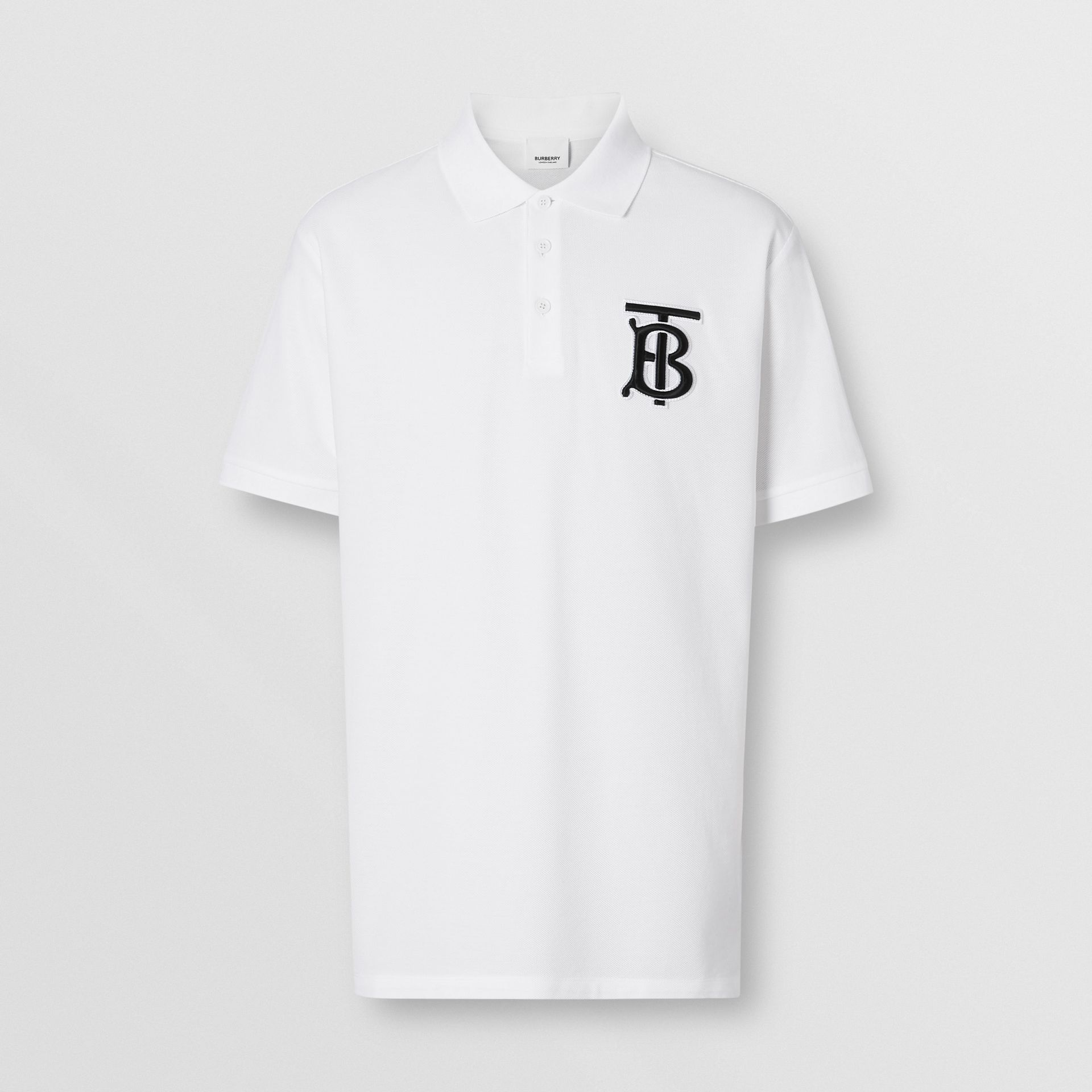 Monogram Motif Cotton Piqué Oversized Polo Shirt in White - Men | Burberry Singapore - gallery image 3