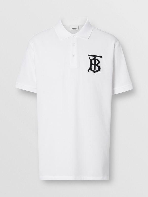 Monogram Motif Cotton Piqué Oversized Polo Shirt in White - Men | Burberry Singapore - cell image 3