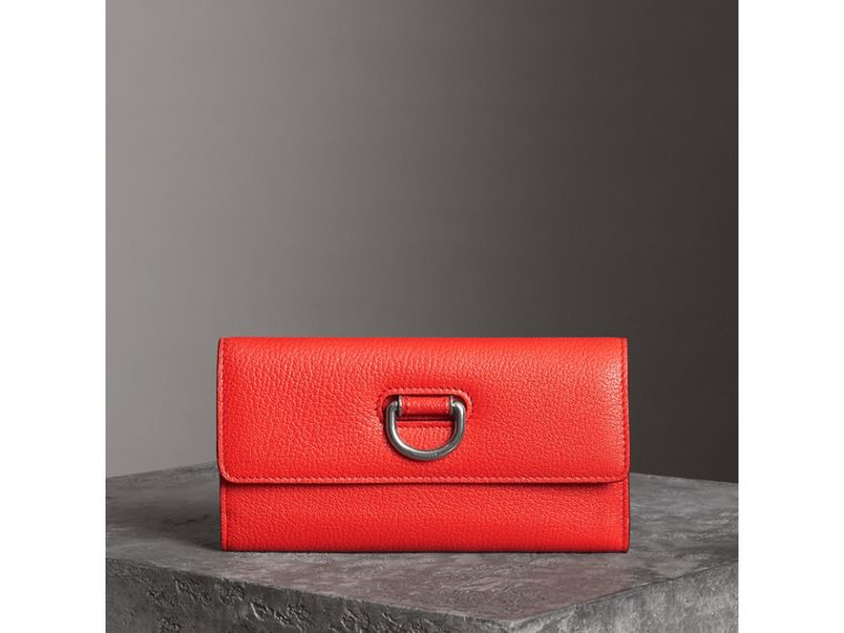 D-ring Grainy Leather Continental Wallet in Bright Red - Women | Burberry - cell image 4