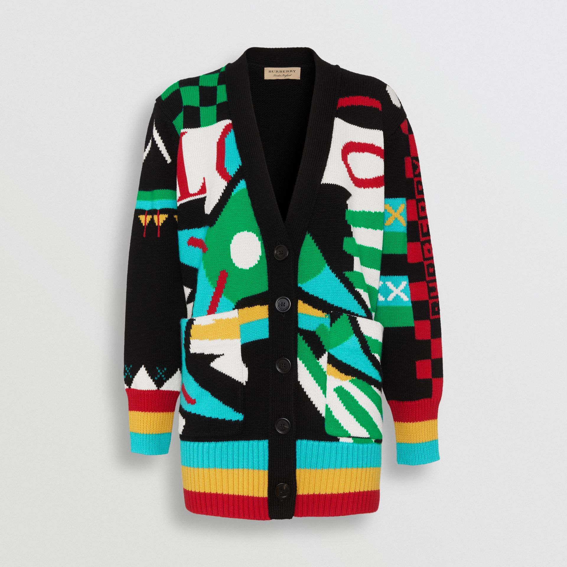 Graphic Intarsia Merino Wool Cotton Cardigan in Multicolour - Women | Burberry Singapore - gallery image 3