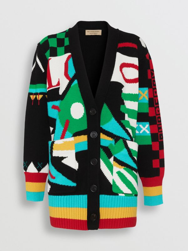 Graphic Intarsia Merino Wool Cotton Cardigan in Multicolour - Women | Burberry - cell image 3