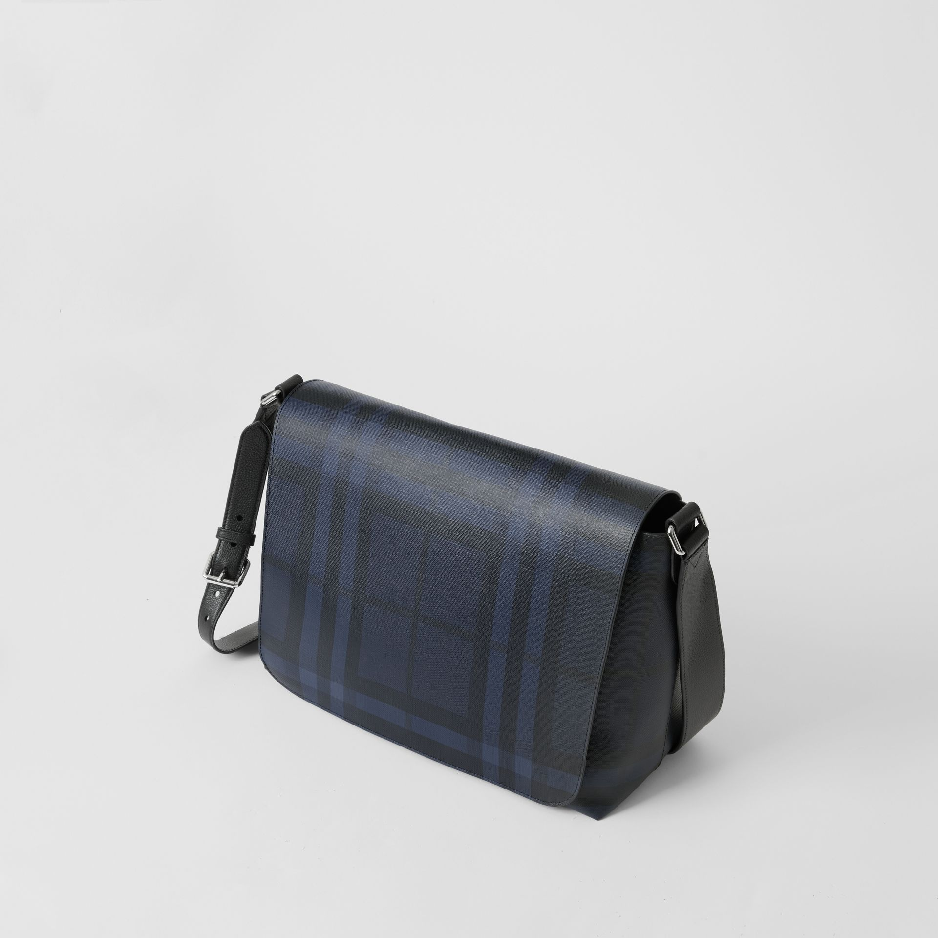 Large London Check Messenger Bag in Navy/black | Burberry United Kingdom - gallery image 4