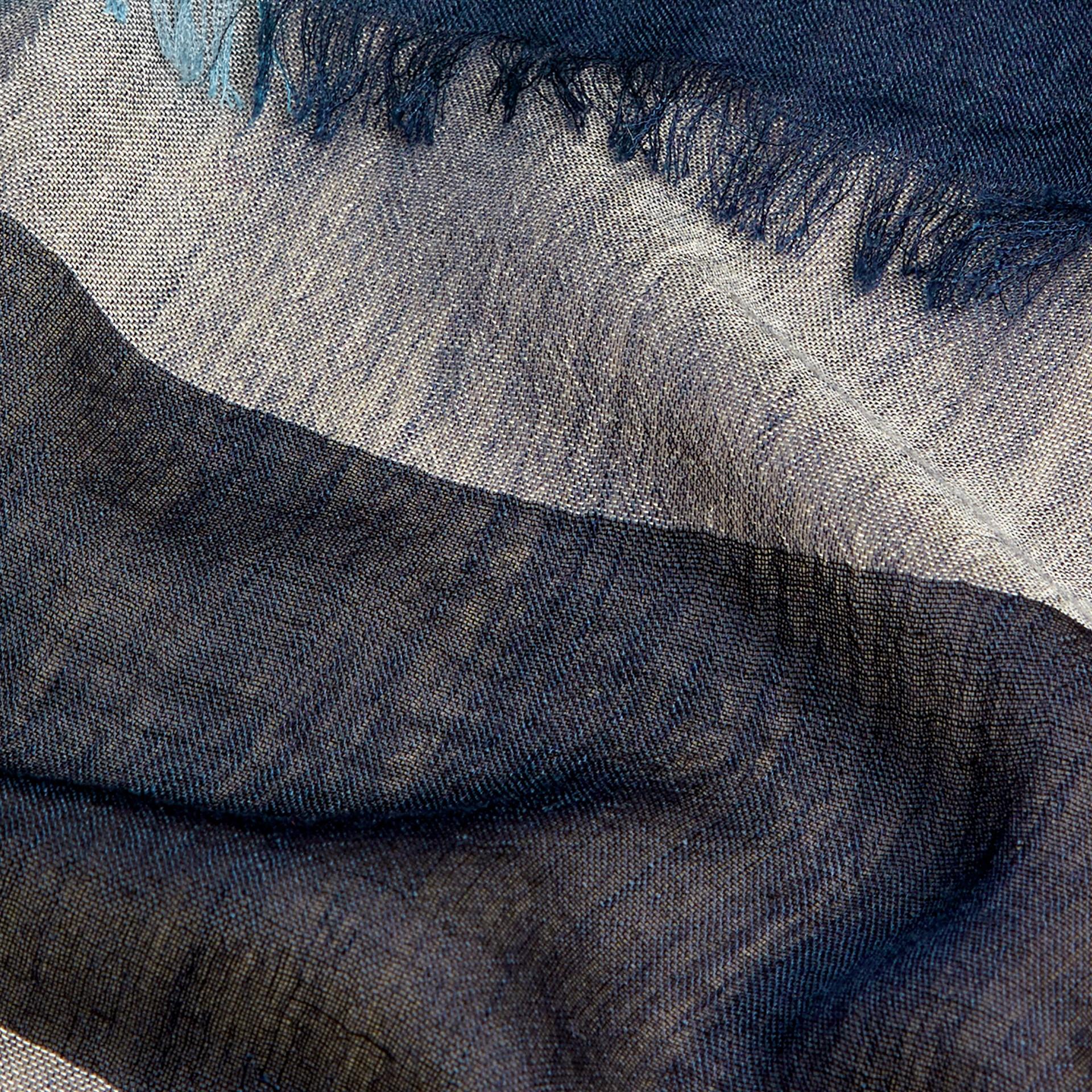 Indigo blue Check Modal Cashmere and Silk Scarf Indigo Blue - gallery image 2