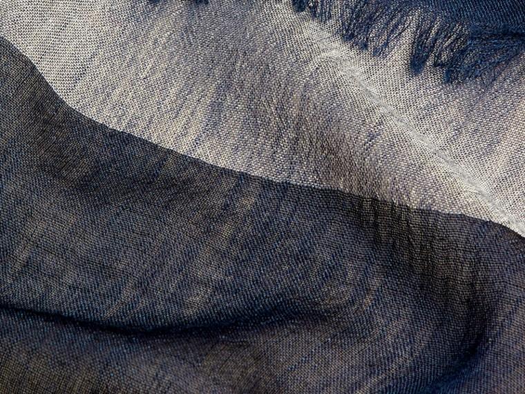 Indigo blue Check Modal Cashmere and Silk Scarf Indigo Blue - cell image 1