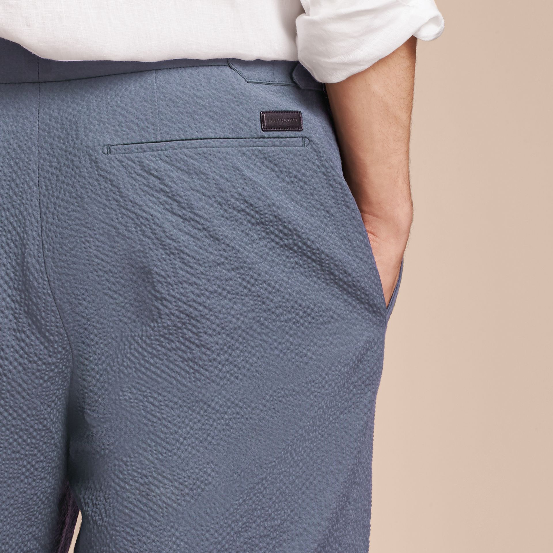 Tailored Stretch Cotton Shorts Slate Blue - gallery image 3