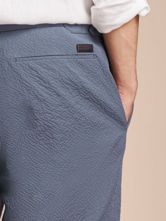 Tailored Stretch Cotton Shorts in Slate Blue - cell image 2