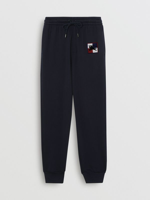 Chequer EKD Cotton Trackpants in Navy - Men | Burberry Canada - cell image 3