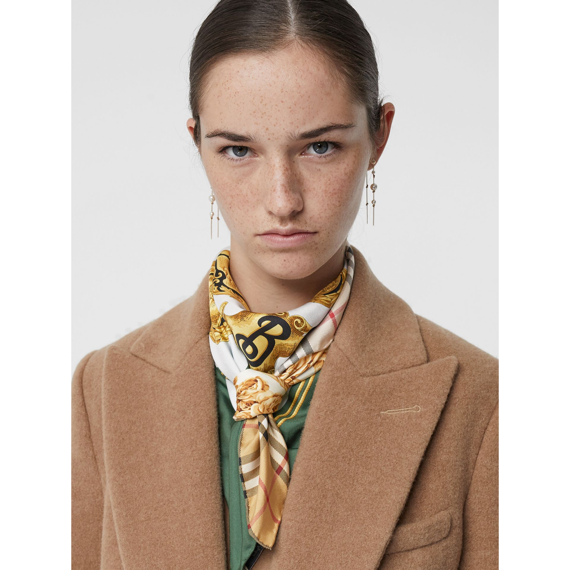Archive Scarf Print Silk Square Scarf in Multicolour | Burberry - gallery image 3
