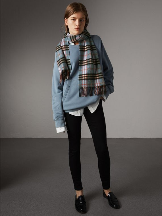 Check Cashmere Scarf in Pale Carbon Blue | Burberry Australia - cell image 2