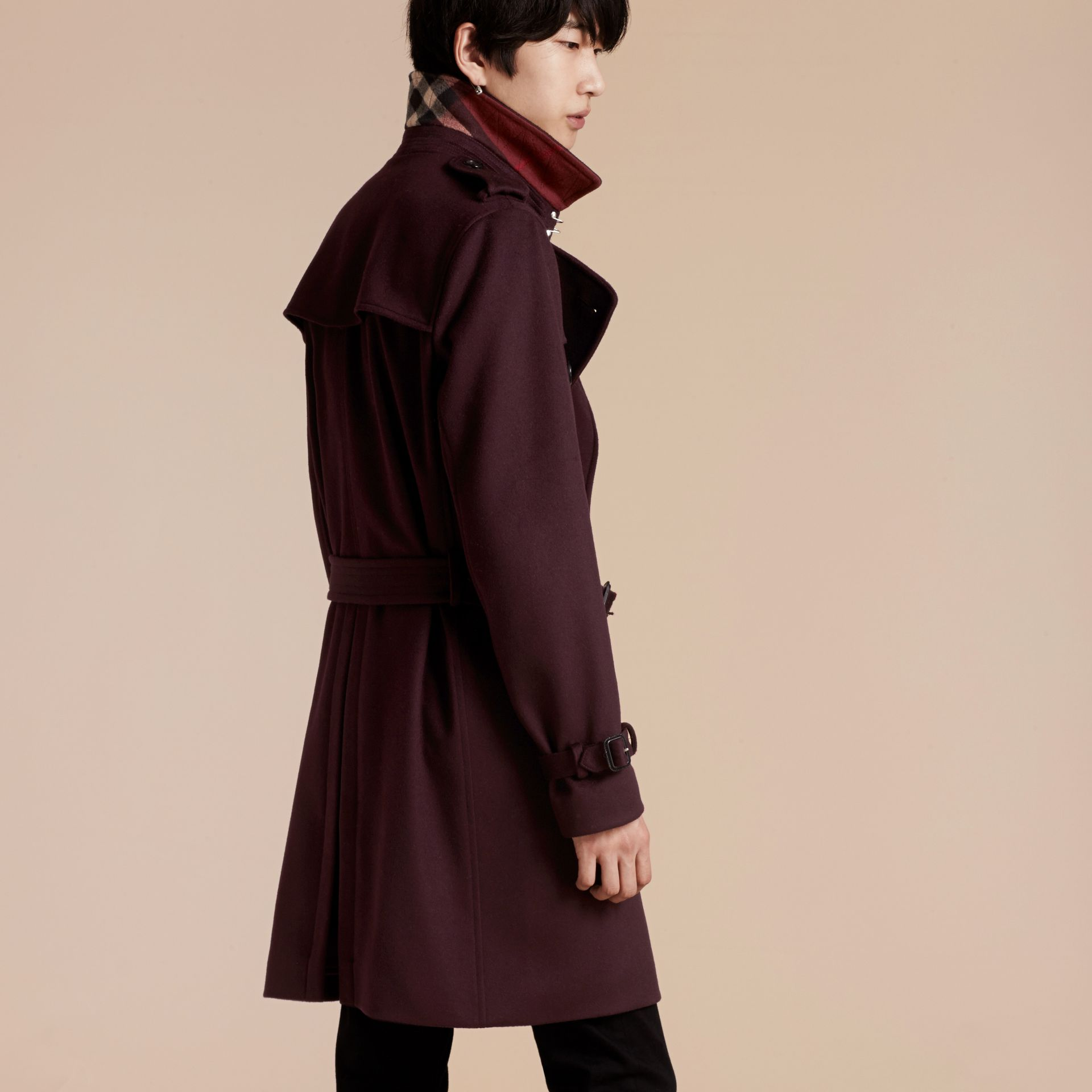 Cashmere Trench Coat Plum - gallery image 3