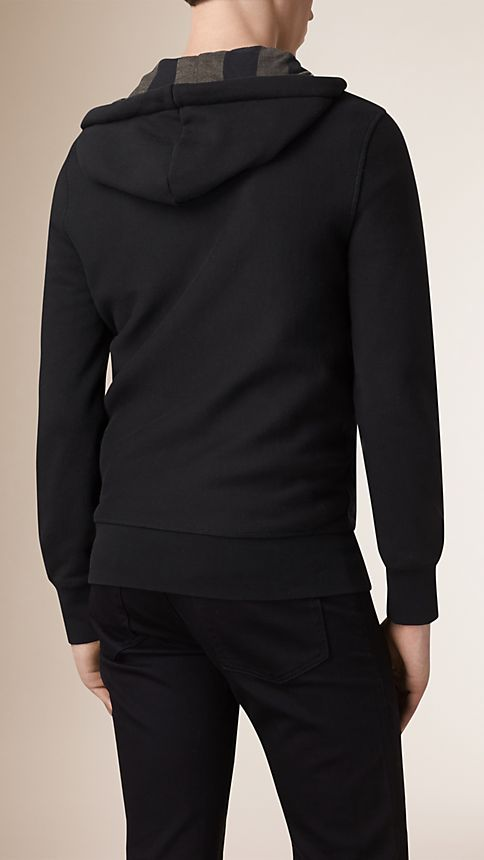 Black Hooded Cotton Jersey Top - Image 3