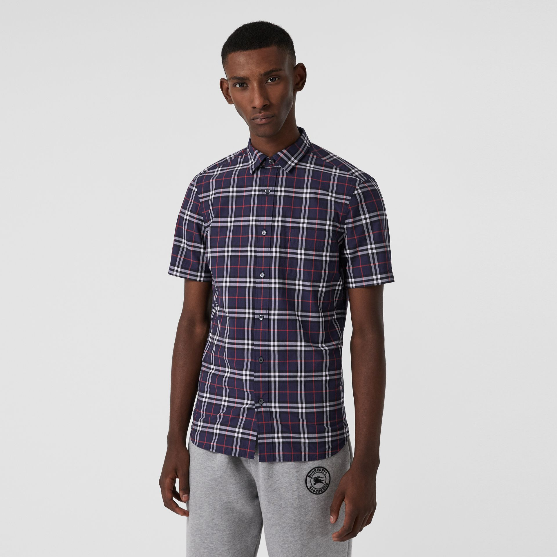 Short-sleeve Check Cotton Shirt in Navy - Men | Burberry - gallery image 0