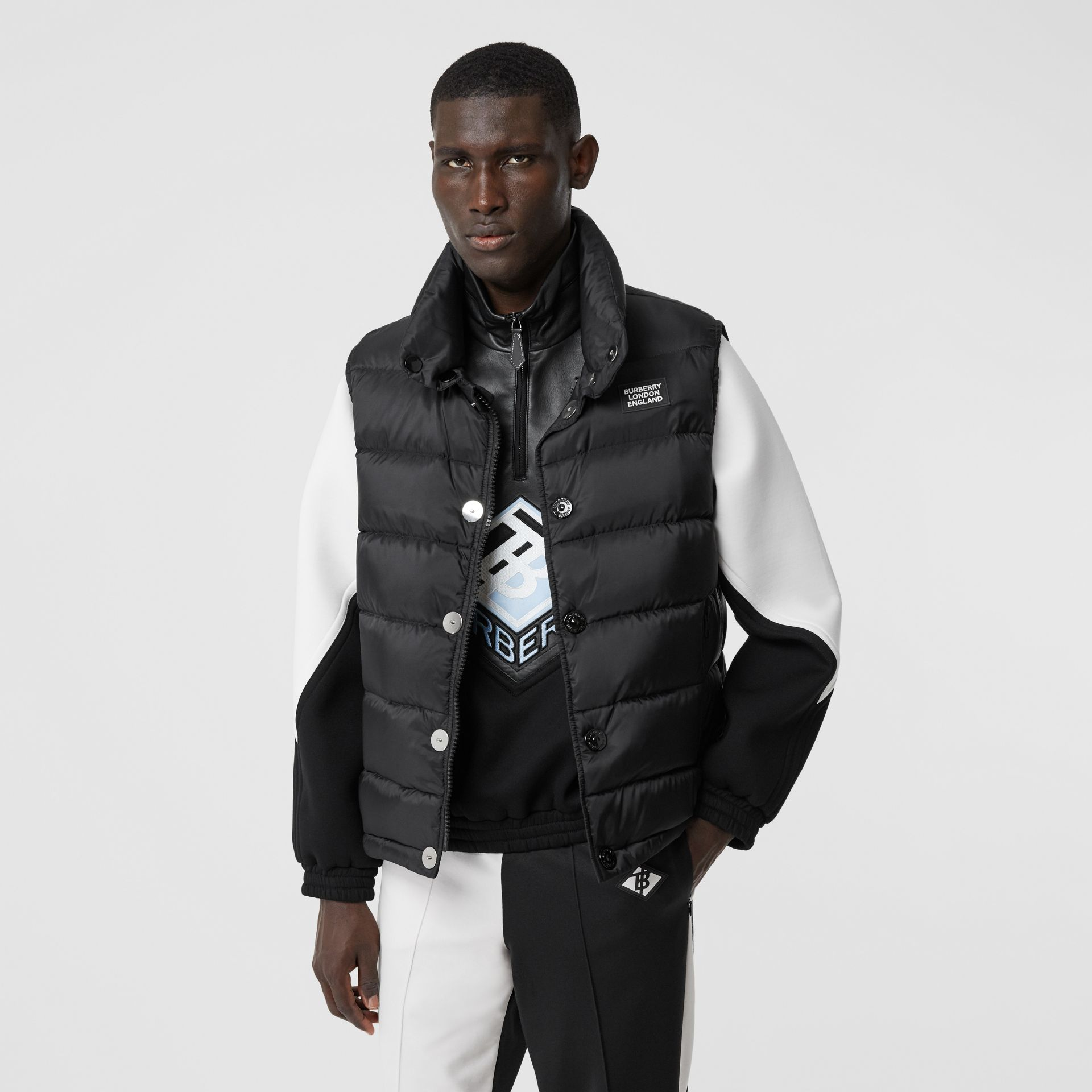 Monogram Stripe Print Puffer Gilet in Black | Burberry - gallery image 5