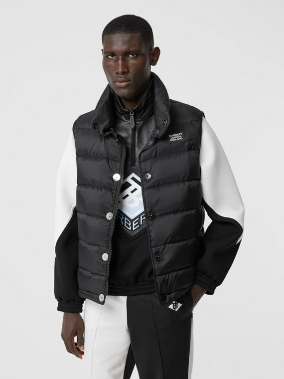 Monogram Print Puffer Gilet in Black
