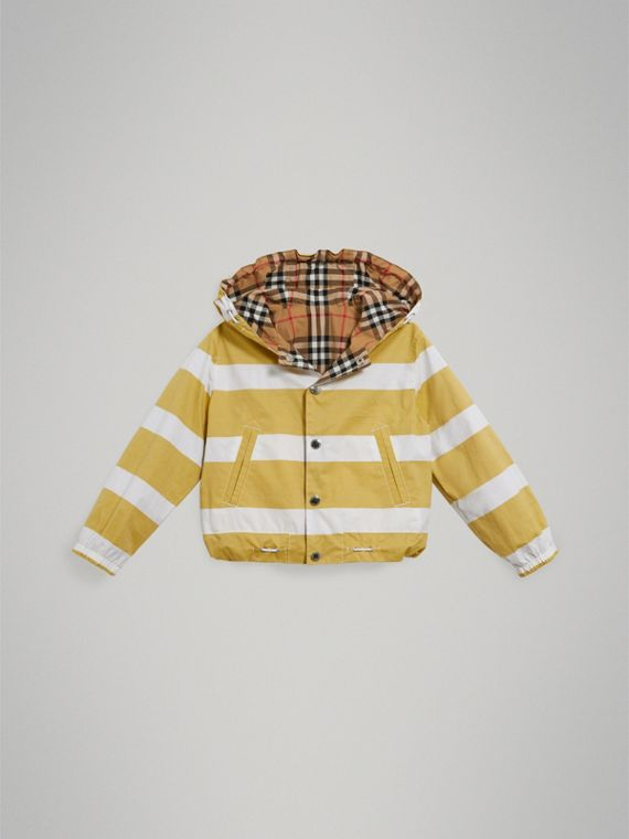 Reversible Stripe and Vintage Check Cotton Jacket in Larch Yellow/whte - Boy | Burberry - cell image 2